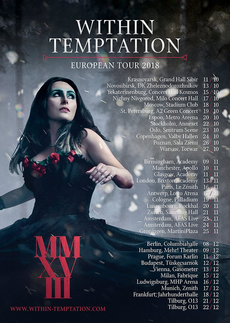 Dutch female fronted band Within Temptation with Sharon den Adel announced their 2018 World tour MMXVIII