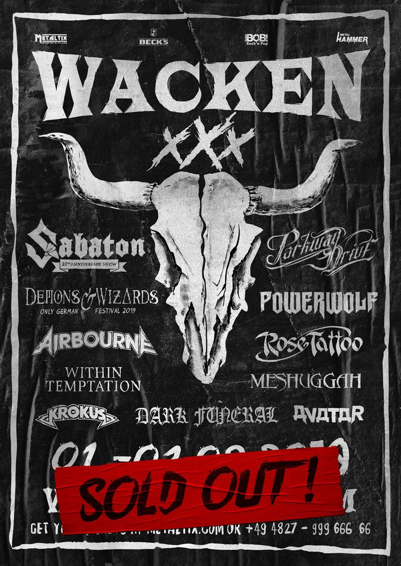Within Temptation to perform Wacken Open Air 2019 Line-up poster