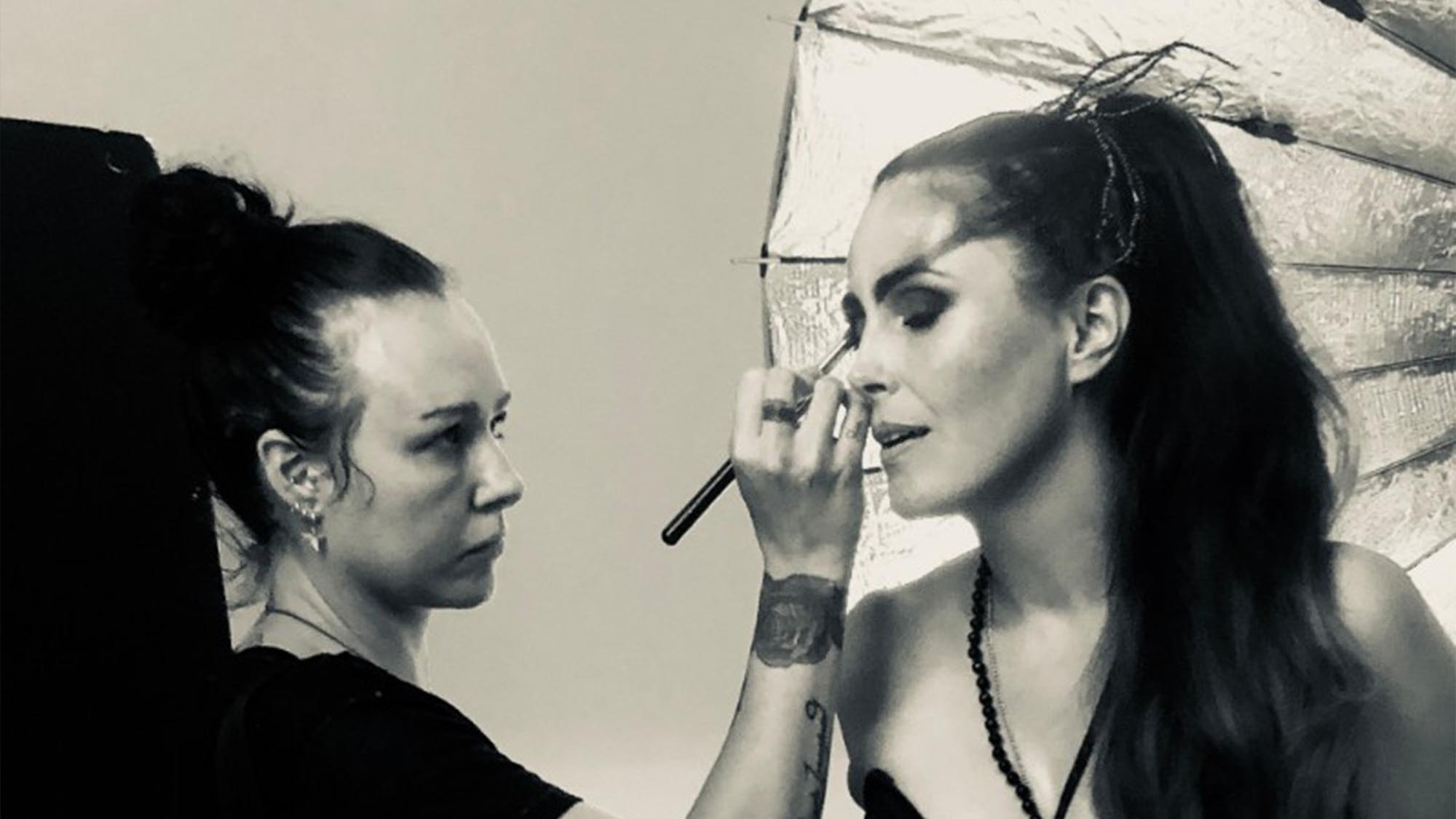 Sharon den Adel on set for their seventh studio album 2018 WT7
