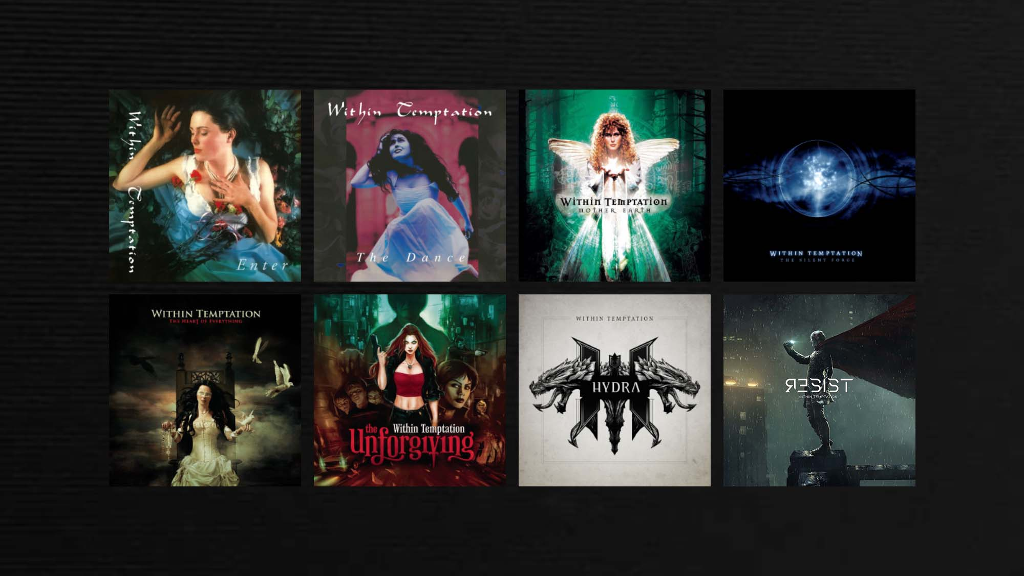 Within Temptation album artwork over the years resized